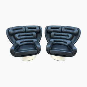Italian Black & White Elda Lounge Chairs by Joe Colombo for Comfort, 1971, Set of 2