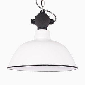 Lampe à Suspension Industrielle Vintage en Émail Blanc, Allemagne, 1960s