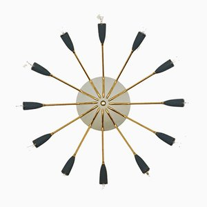 Italienische Sputnik Lampe aus Messing, 1950er