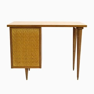 French Cherrywood & Rattan Desk, 1950s
