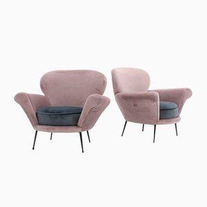 Mid-Century Italian 2-Tone Velvet Curved Armchairs, Set of 2