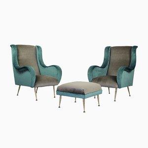 Moderner französischer Sessel & Fußhocker, 1950er