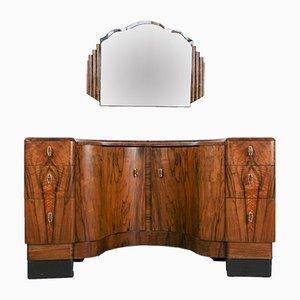 Art Deco Frisiertisch & Spiegel aus Nussholz, 1940er