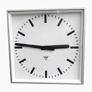 Large Square Czech Industrial Factory Clock from Pragotron, 1960s