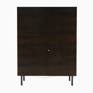 Schreibtisch aus dunkel gebeiztem Nussholz, 1960er