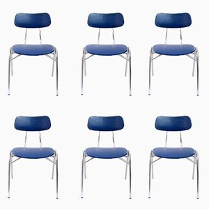 Industrial Swedish Stacking Chairs, 1960s, Set of 6