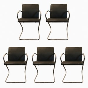 Metal & Black Leather Side Chairs, 1960s, Set of 5