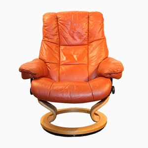 Lounge Chair in Orange Leather from Stressless, 1970s