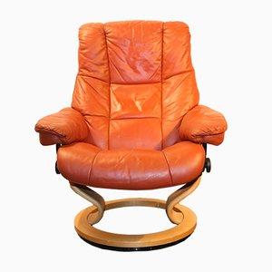 Sessel aus orangenem Leder von Stressless, 1970er
