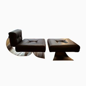 Dark Brown Model Brazilia ON1 Lounge Chair & Ottoman by Oscar Niemeyer for Mobilier International, 1970s