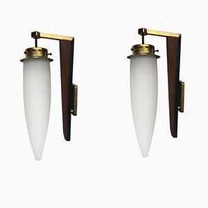 Applique Mid-Century in legno, ottone e vetro, Italia, set di 2