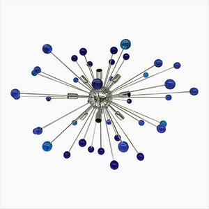 Sputnik Chandelier with Blue Murano Glass