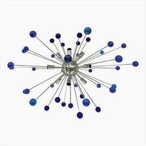 Sputnik Kronleuchter mit blauem Muranoglas