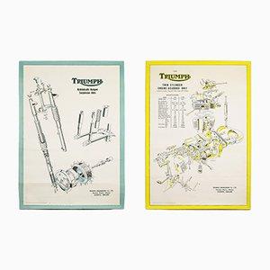 Posters Triumph Motorcycle Technical Vintage, 1950s, Set de 2