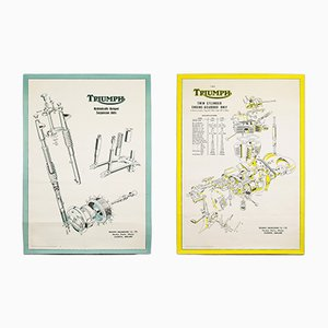 Vintage Triumph Motorcycle Technical Posters, 1950s, Set of 2