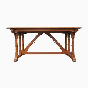 Gothic Revival Library Table in Oak