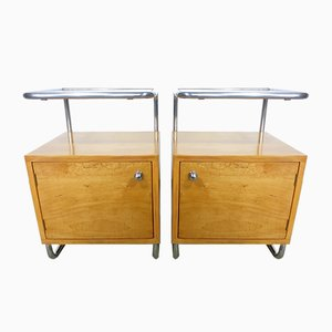 Tubular Steel and Glass Bedside Tables from Rudolf Vichr, 1930s, Set of 2