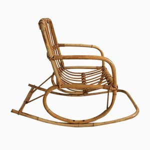 Vintage Child's Rocking Chair in Rattan, 1960s