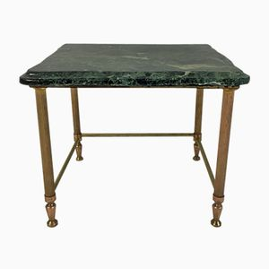 Small Vintage Side Table in Brass & Green Marble