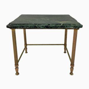 Tavolino da salotto vintage in ottone e marmo verde