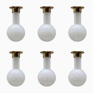 Lampes à Suspension Vintage en Vert, 1970s, Set de 6