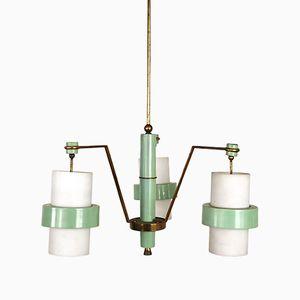 Lampe à Suspension en Laiton & en Verre Opalin, 1959