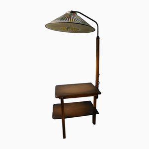 Art Deco Stehlampe mit Tisch, 1930er