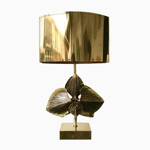 French Bronze Orchid Table Lamp from Maison Charles, 1970s
