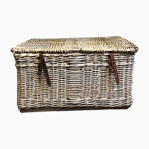 Large Wicker Steamer Trunk, 1940s