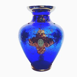 Vintage Blue Regency Vase with Cameo and Pure Gold