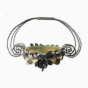 Art Nouveau French Wrought Iron Fruit Bowl from Muller Frères