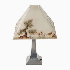 Lámpara de mesa belga de hojalata y fibra de vidrio de Etains Potstainiers, años 70