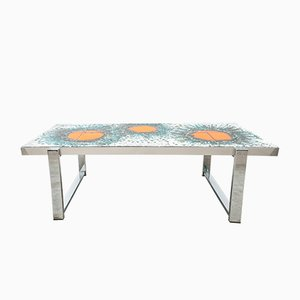 Ceramic Tiled Sunburst Coffee Table, 1960s
