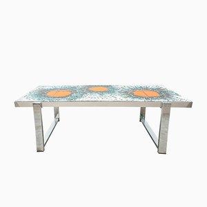 Tavolino da caffè con mattonelle in ceramica, anni '60