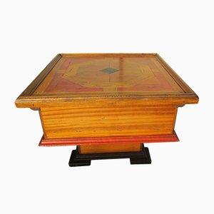 Mesa de centro pequeña de madera exótica, años 80