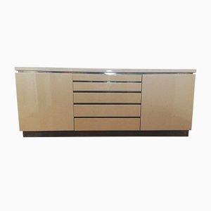 French Lacquer & Brass Sideboard by Jean Claude Mahey, 1970s