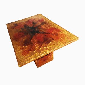 French Illuminated Crackled Resin Side Table from Accolay, 1970s