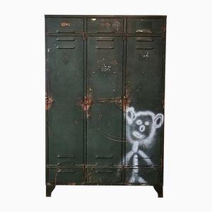 Vintage Belgian Metal Locker with Three Doors