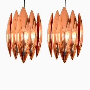 Lámparas colgantes Kastor de cobre de Johannes Hammerborg para Fog & Mørup, años 60. Juego de 2