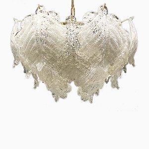 Lámpara de araña de cristal de hielo soplado de Mazzega, años 60