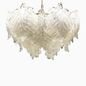 Handblown Ice Glass Chandelier from Mazzega, 1960s