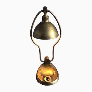 Lámpara de mesa austriaca antigua de latón, década de 1900