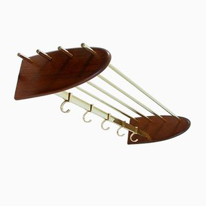 Mid-Century Austrian Coat Rack in Teak and Brass, 1950s