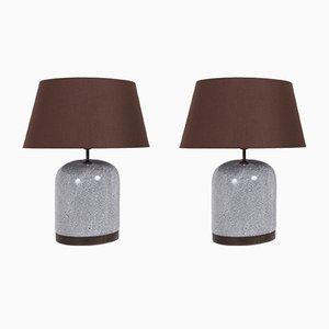 Lámparas postmodernas de cerámica en blanco y negro con pantallas marrón, años 80. Juego de 2