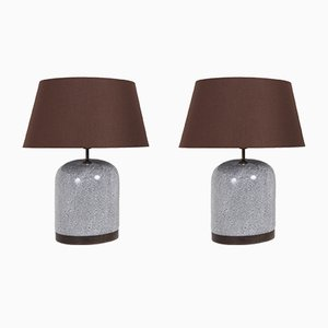 Postmodern Black & White Speckled Ceramic Lamps with Brown Shades, 1980s, Set of 2