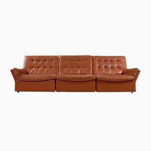 Unterteiltes Lounge Sofa aus Leder, 1970er