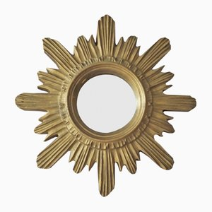 French Gilt Resin Sunburst Wall Mirror, 1950s