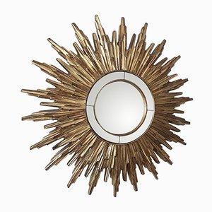 French Gilt Resin Sunburst Convex Mirror, 1960s