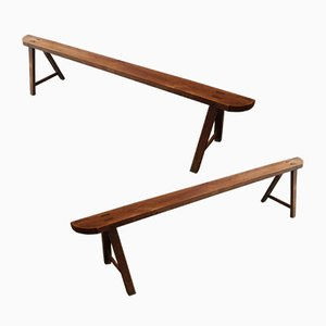 Mid-Century Wooden Benches, 1960s, Set of 2