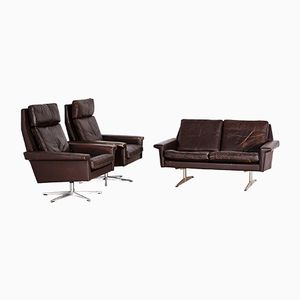Dark Brown Leather Sofa Set, 1960s